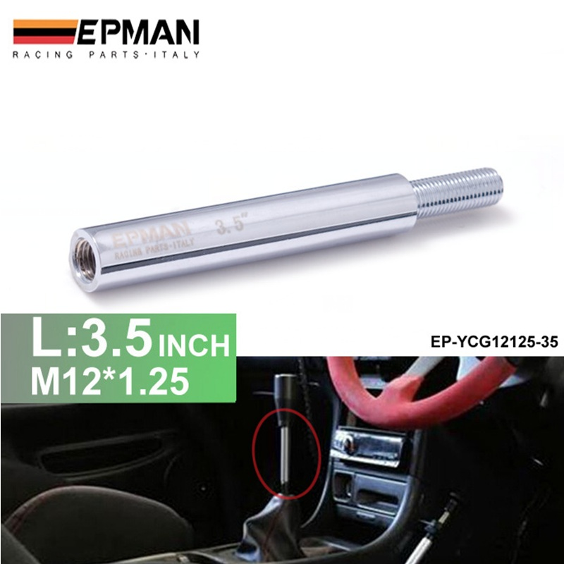 Silver Shift Knob Extension For Manual Gear Shifter Lever 3.5in M12X1.25 EP-YCG12125-35