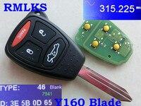 Llavero remoto automático RMLKS 2 3 4 botones entrada sin llave Y160 Blade 315MHz ID46 PCF7941 Chip apto para Chrysler KOBDT04A for chips for keys for auto -