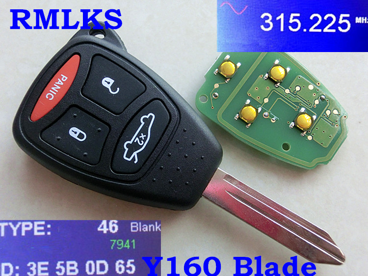RMLKS Auto Remote Key Fob 2 3 4 Buttons Keyless Entry Y160 Blade 315MHz ID46 PCF7941 Chip Fit For Chrysler KOBDT04A