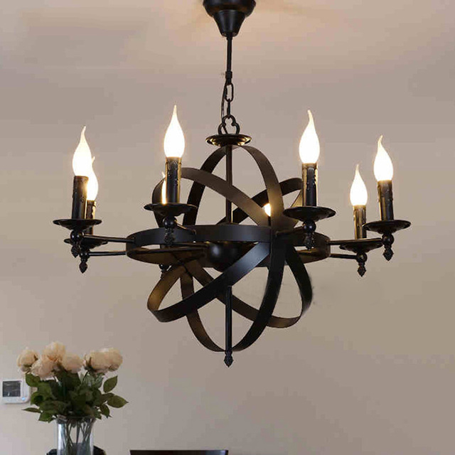 1pc Candle Stick Shaped Industrial Sense Black Iron Chandelier European Castle Style Hanging For Home