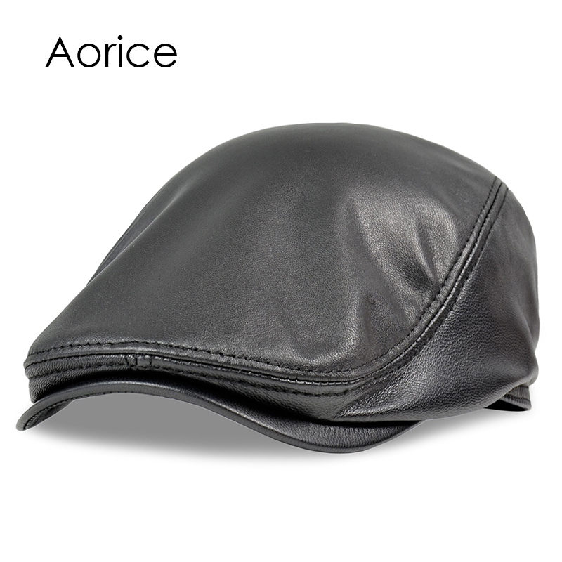 HL191 Men's real  Genuine Leather baseball Cap brand new style sheep leather  beret newsboy belt hunting gatsby  black caps hats women artist beret cap french style autumn