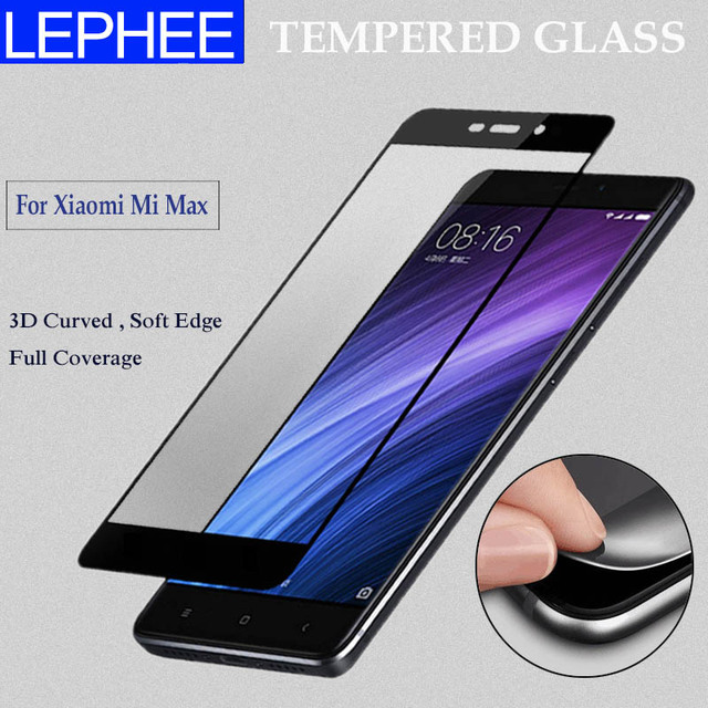 new arrivals e93fa 16274 US $4.98  LEPHEE Xiaomi Mi Max Glass Tempered Glass 3D Curved Full Cover  Screen Protector Carbon Fiber Soft Edge Xiomi Xiaomi Mi Max PRO-in Phone ...
