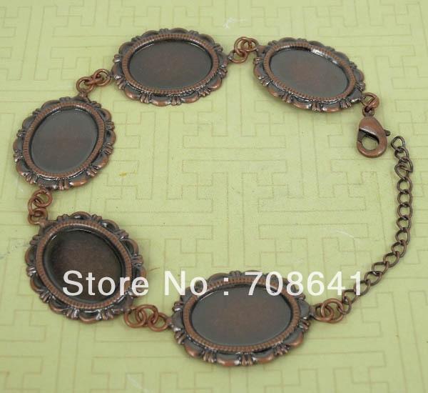 Пустой браслет основы настройки 131x8 мм Овальный рамка лоток Кабошон браслет изделий DIY Античная медь Тон