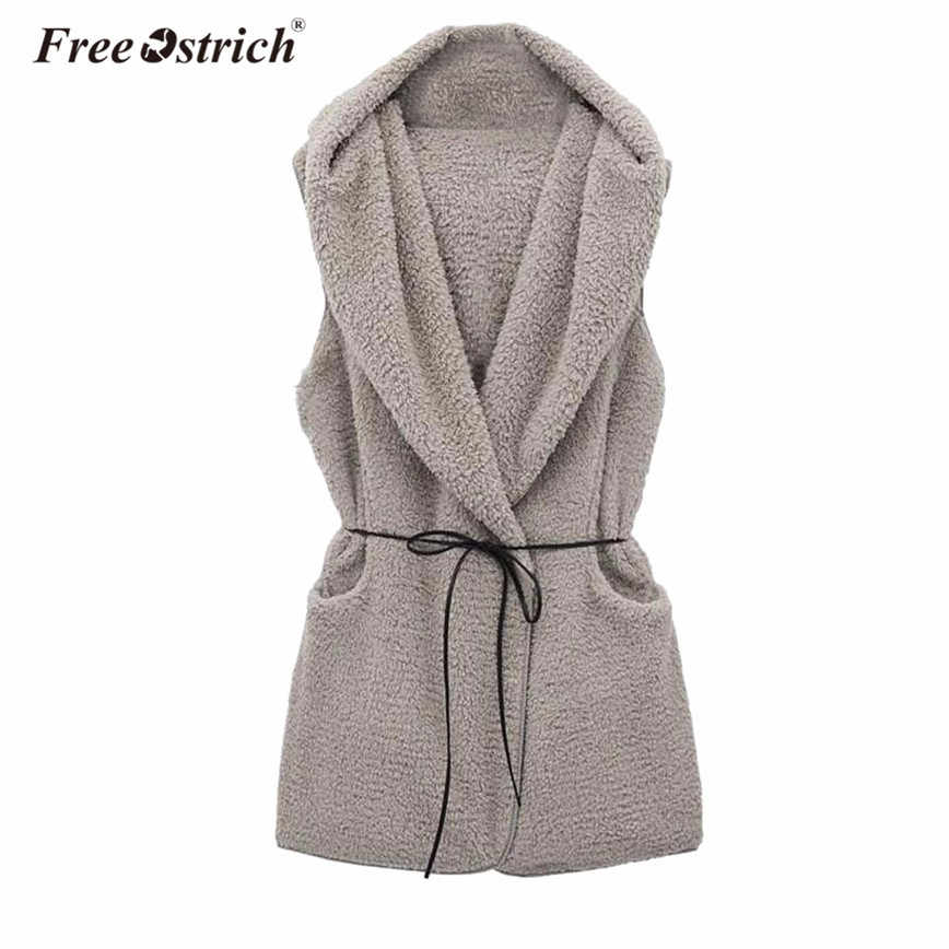 Free Ostrich Winter Warm Vest Women Wool Blend Waistcoat Sleeveless Hooded Coat Solid Belt Pocket veste femme D25