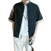 New Loose Shirt Chinese Traditional Style Dragon Dragon Linen Kung Fu Shirts Men Casual Half Sleeve