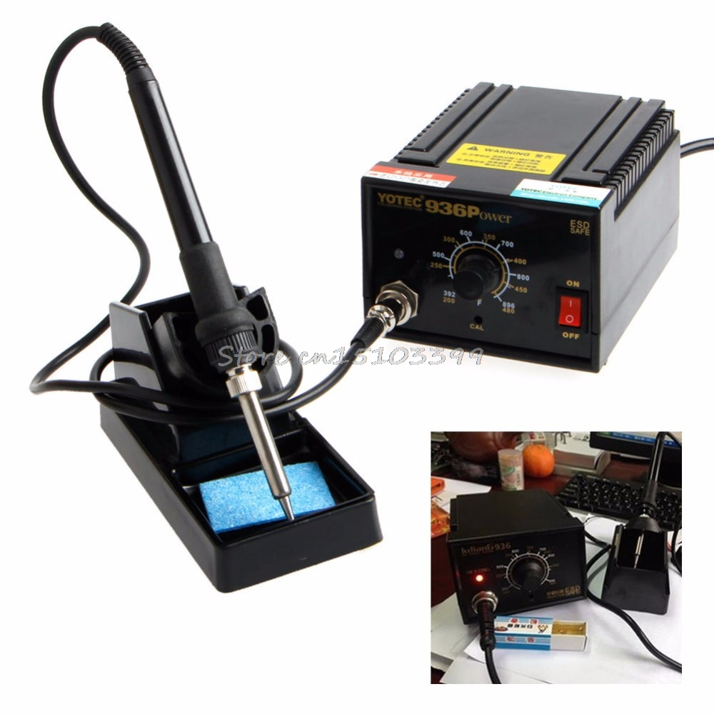 936 Power Electric Soldering Station SMD Rework Welding Iron W/ Stand 110V 220V #G205M# Best Quality soldering station heat soldering irons soldering stand welding electric soldering iron a bf gs110d 220v 110w