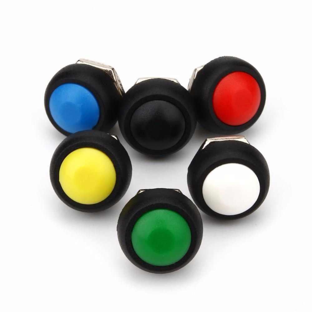 Interruptor de botón momentáneo resistente al agua de 12mm negro/rojo/Verde/amarillo/azul