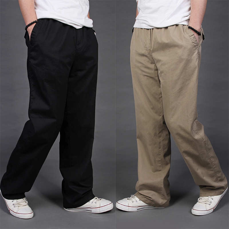 pocket Plus size casual loose Cargo black pants male trousers plus size cotton Elastic Waist long trousers for 60kg-135kg 6xl