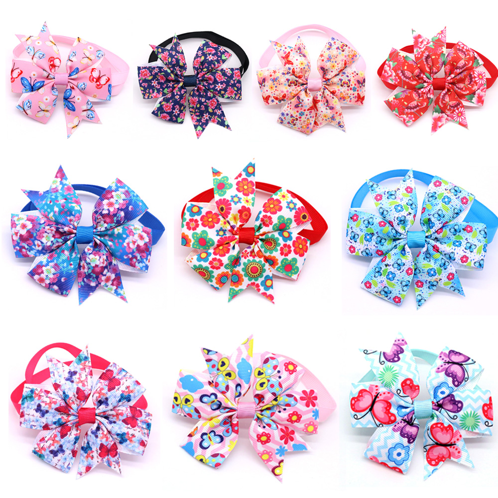 100pcs New Pet Supplies Flower Pet Cat Grooming Accessories Butterfly Style Pet Dog Bowties Ties Hand-made Pet Products