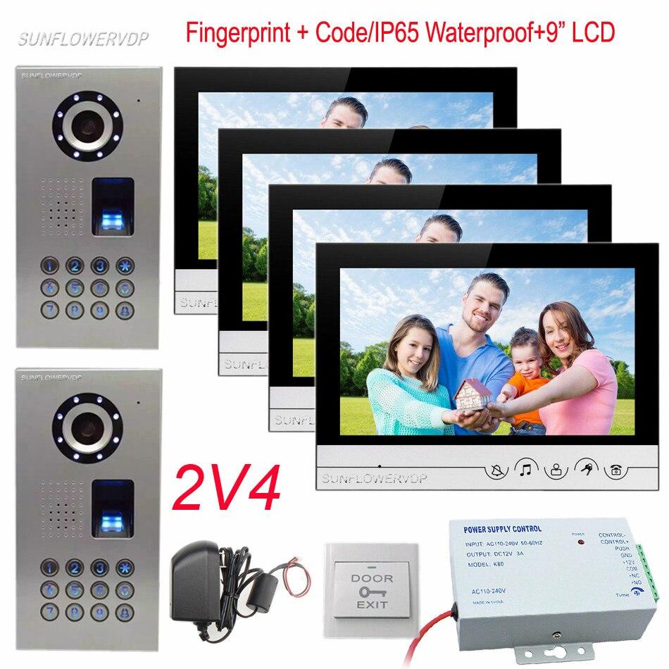 Video Door Phones 4 Apartments IP65 Waterproof Fingerprint Code 2 Door Cameras And 4 Monitors 9