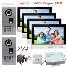 Video Door Phones 4 Apartments IP65 Waterproof Fingerprint Code 2 Door Cameras And 4 Monitors 9″ Color Lcds For Home Security