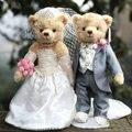 Ursinho de pelúcia Bonecas Amante Vestidos de Casamento Urso de Pelúcia Um Par Articulado Urso De Pelúcia Animal Brinquedos de Presente de Casamento decoração Do Carro