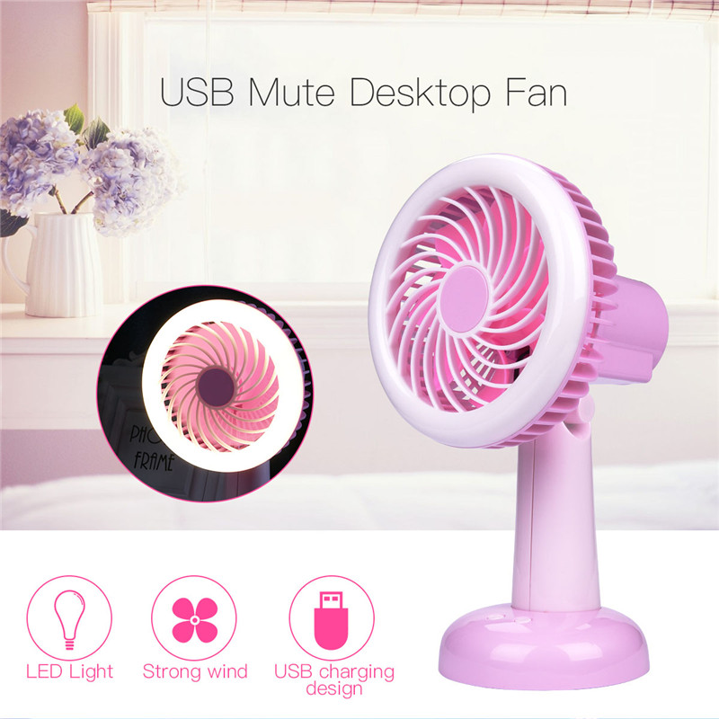 Portable USB Rechargeable Desktop Mini Fan with LED Light and 2 Files Wind  Speed Rotatable Head e06c9247da6