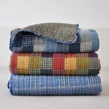 Хлопок Осенние лоскутные одеяла 180*200 см Покрывало для дивана американский стиль одеяла машинная стирка синий летний чехол