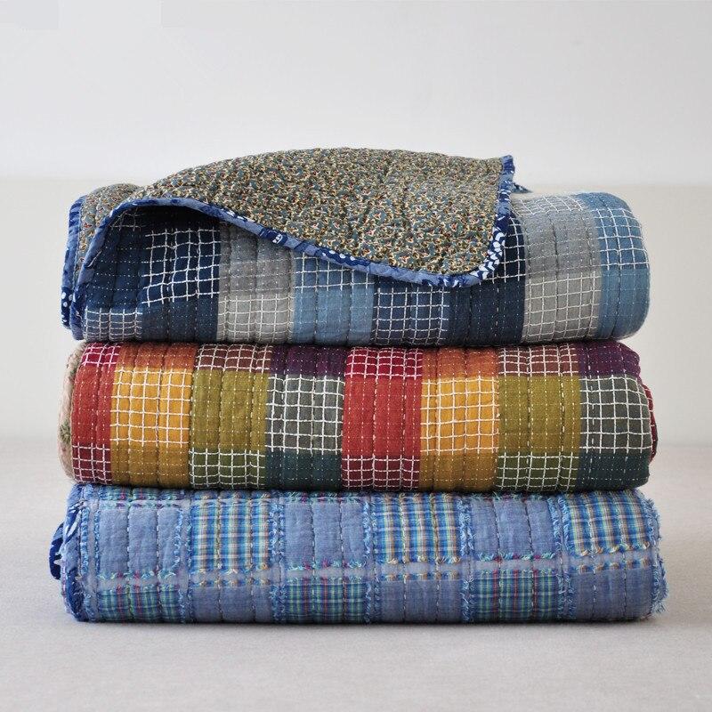 100% coton Automne patchwork courtepointes 180*200 cm couvre-lit housse de canapé de style Américain couvertures Machine lavable bleu d'été couverture