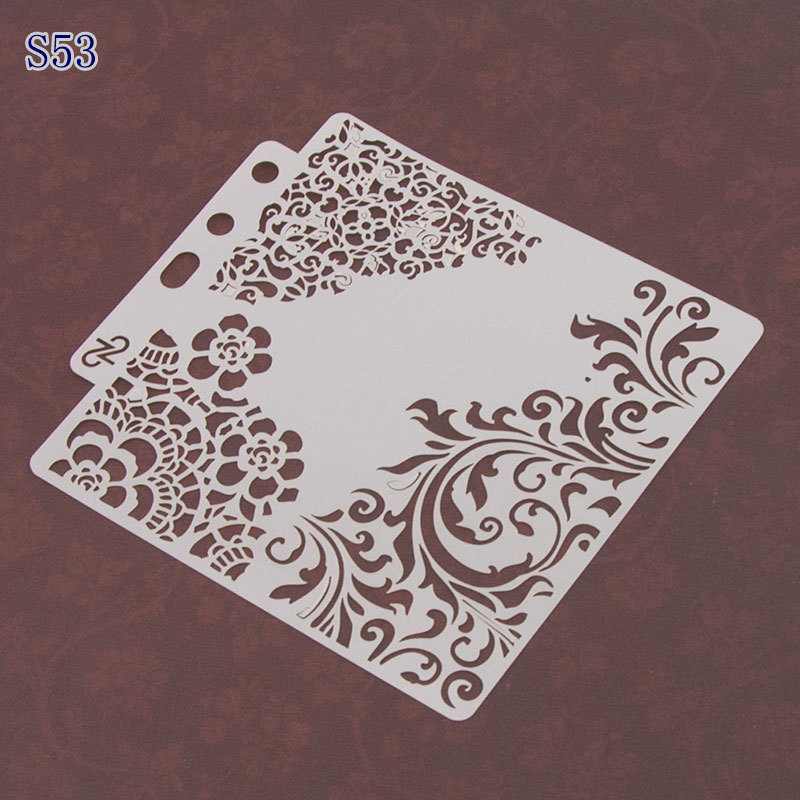 Flower Corner Pvc Layering Stencils For Diy Scrapbook Coloring