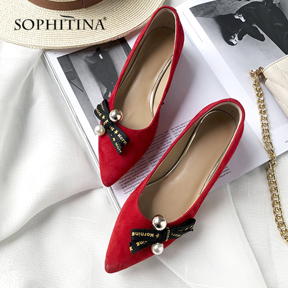 SOPHITINA New Genuine Leather Pumps Fashion Butterfly-knot Slip-on Sexy Pointed Toe Spring Shoes Comfortable Casual Pumps SO63