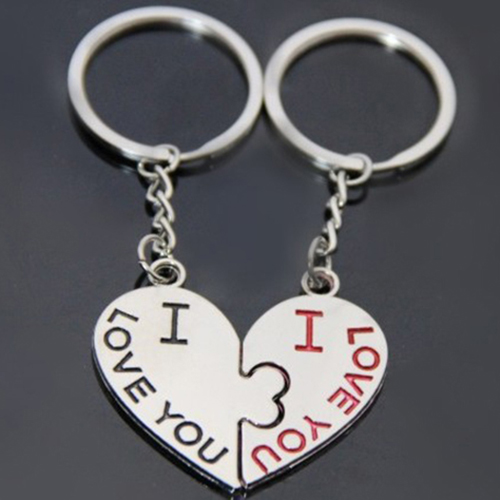 1 Pair I Love You Kiss Key Ring Keychain Heart Keyfob Lover Couple Gift Keyring