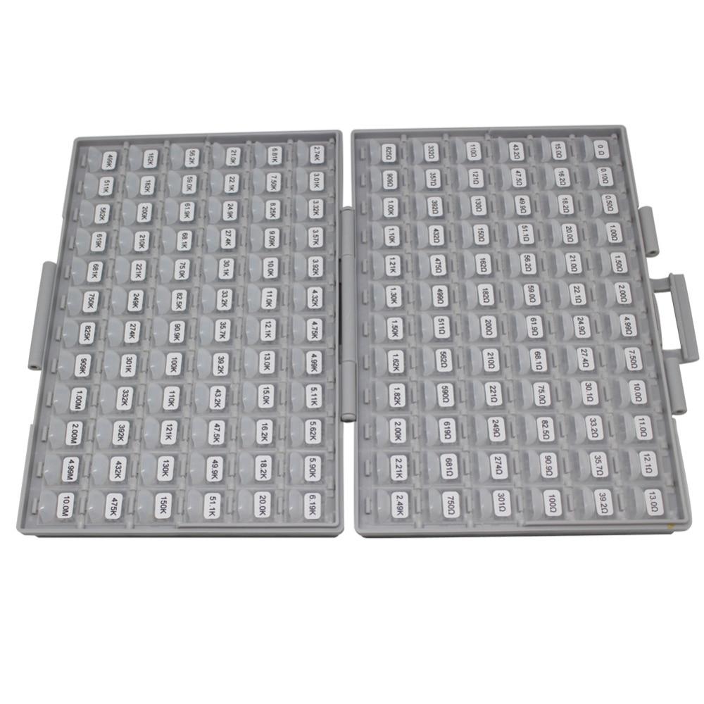 AideTek поверхностное крепление 0805 1% коробка резисторов набор для хранения 10 м Ом 100 шт/значение 14400 шт в ассортименте пластик R08E24100