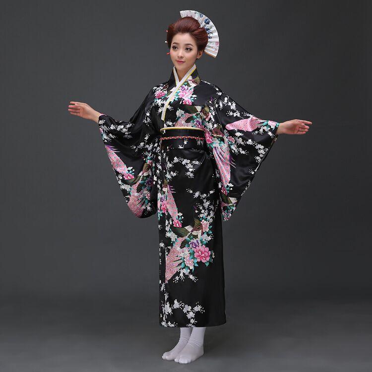 Black Vintage Japanese Ladies Kimono Bath Gown Women's Faux Silk Yukata With Obi Performance Dance Dress Cosplay Clothing