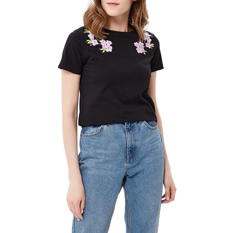 T-Shirts MODIS M181W00395 woman t shirt cotton for female TmallFS white lace details round neck short sleeves t shirts