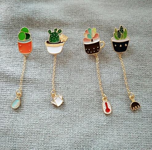 2016 Fashion small enamel metal Cute Succulent Potted Aloe Vera Metal Oil Drop Brooch Pins Lapel Pin brooch brincos gift