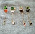 2016 Moda pequeno esmalte Suculentas Em Vasos de metal Bonito Gota de Óleo de Aloe Vera de Metal Pinos Broche Pin de Lapela broche brincos presente