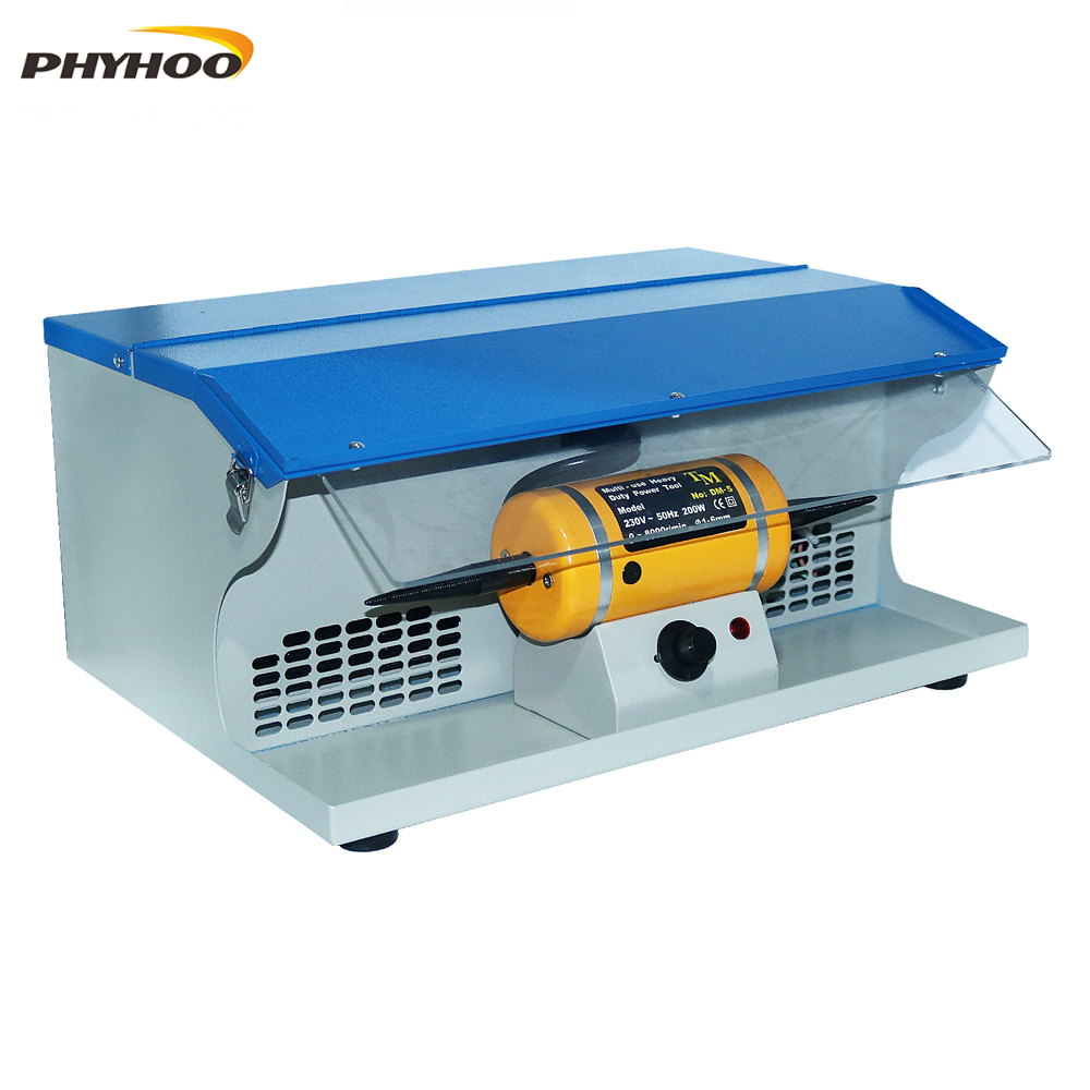 Machine de polissage avec collecteur de poussière Mini polissage meulage moteur banc broyeur polisseuse 1/6HP bijoux polisseuse