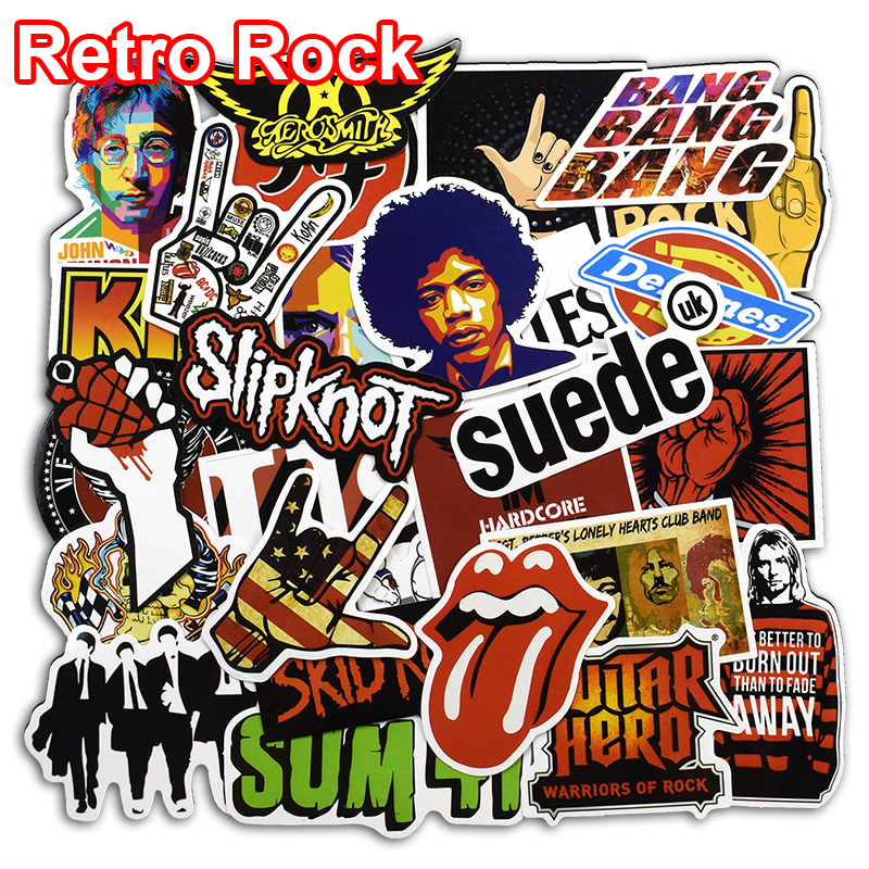 52 Pcs Retro Rock Band Music Stickers Green Day RHCP Dead Kennedys For Laptop Luggage Skateboard Guitar PVC Waterproof Sticker