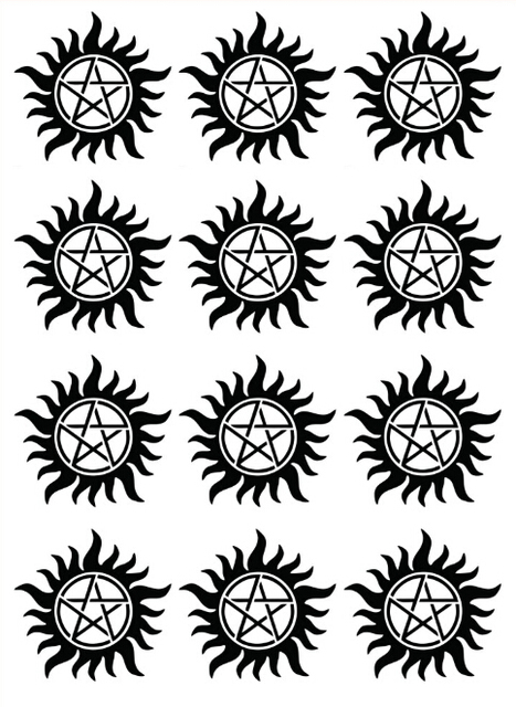 1pcs 12 Patterns Temporary Tattoo Supernatural Winchester Brothers