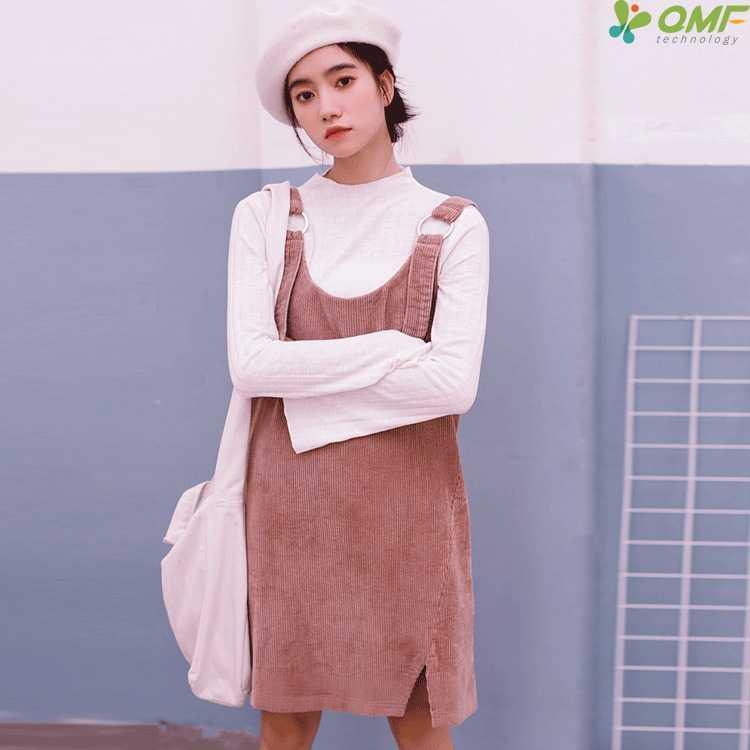 a3b04df84be Корейский ремень вельветовые платья розовый универсальные летнее платье  одноцветное Цвет сладкий сарафан элегантный дизайн тонкий Vestidos