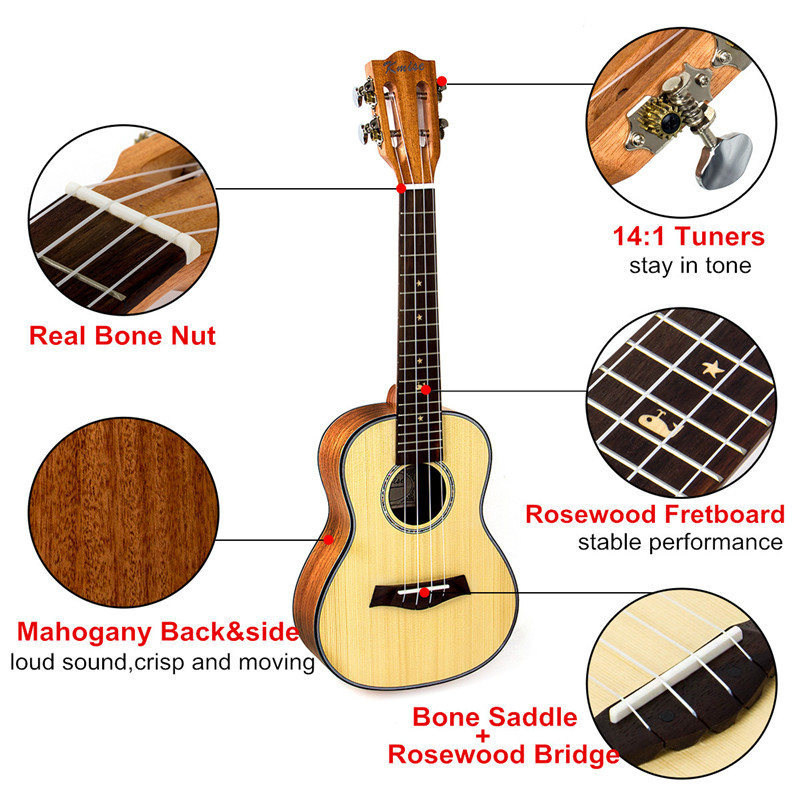 Kmise Concert Ukulele Solid Spruce Classical Guitar Head Ukelele 23 inch Uke Beginner Kit with Gig Bag Tuner Strap String Picks-in Ukulele from Sports & Entertainment    3