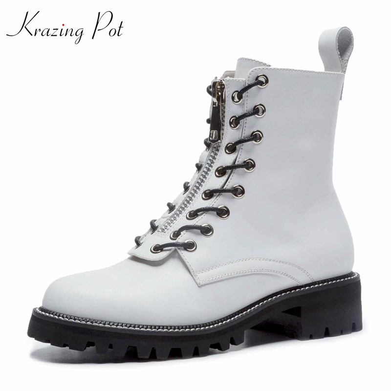 Krazing Pot 2018 cow suede streetwear platform lace up boots square heels superstar round toe wholesale women mid-calf boots L15 krazing pot cow suede fashion winter big size round toe art square high heels embroidery women flowers ankle chelsea boots l15