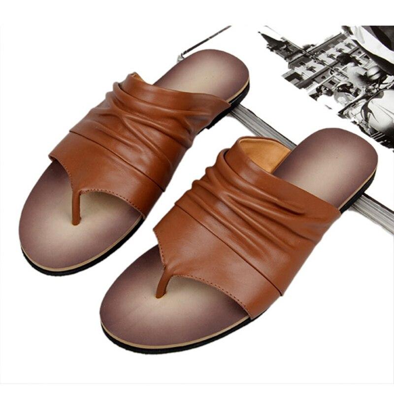 ONS 6 10 Mannen Vintage Lederen Casual Flip Flop Slipper Casual Strand Sandalen Zomer Outdoor Schoenen - 5