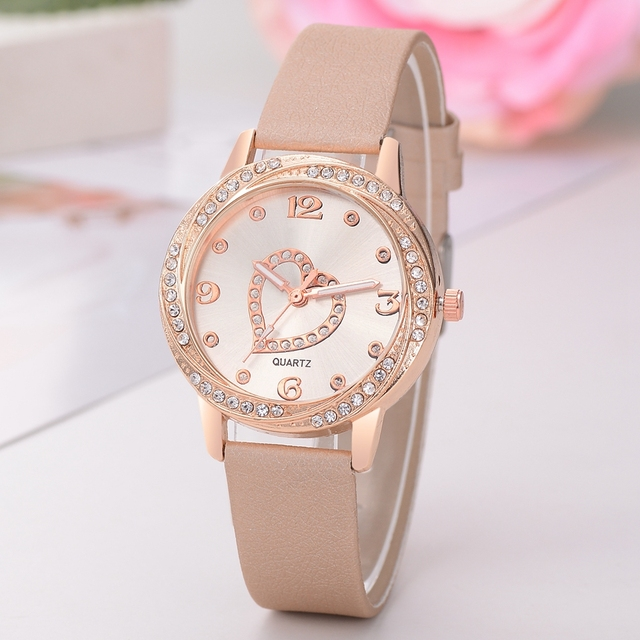 Leather Strap Bracelet Watch Women Heart Watches Top Brand Luxury Ladies Fashion