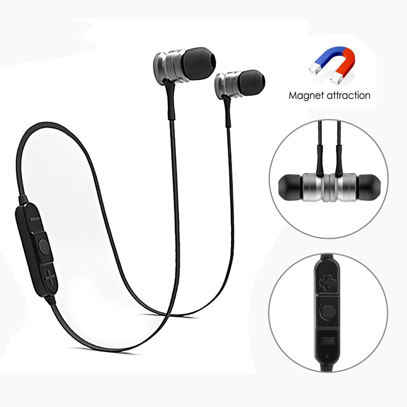 Wireless Bluetooth Sport Earphones Stereo Bass Metal Magnetic Earbuds Headset For Xiaomi Android IOS Fone de ouvido Auriculares hangrui bluetooth earphone for xiaomi sport headset bass stereo in ear earphones with microphones fone de ouvido bluetooth 4 1