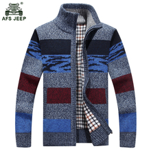 Men's Stripe Sweater Fashion Contrast Color Autumn Winter Cardigan Zipper Sweater Male Knitting Sweater Hombre M-3XL xia70wy
