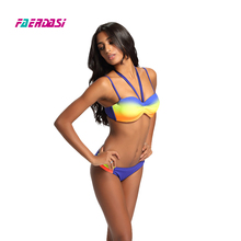 Women Sexy Push up Bikini Set Patchwork Swimsuit Female Bandage Swimwear Bandeau Monokini Gradient Beachwear