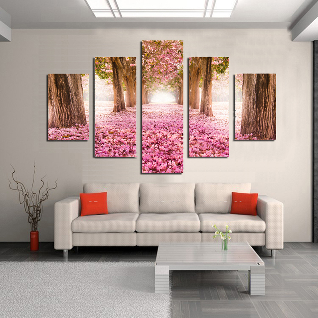 5 Panels Pink Cherry Blossom Trees Fallen Flowers Deep Long Path ...