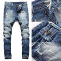 NEW Arrivals Fashion Men Designer Distressed Jeans Ripped Slim Fit Straight Jeans Skinny Pants