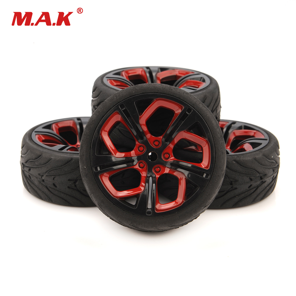4pcs/Set 62.5mm Tires 1/10 RC Racing Tires Car on Road Wheel Rim for HSP HPI RC Car Accessories P8NKR+Rubber Tire(Devil) цена