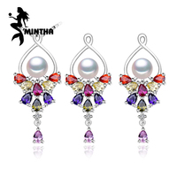 MINTHA 925 Sterling Silver Natural Pearl Ruby Jewelry Sets For Women Vintage Accessories Long Earrings Wedding