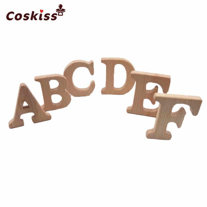 Beech Kayu Teether Alfabet Bahasa Inggris Diy Aksesoris Perawatan Teether Manik-manik Bayi Pendidikan Prasekolah Surat Bentuk Mainan
