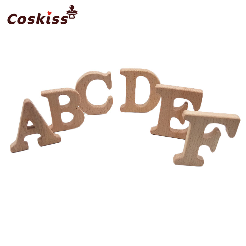 Beech Wooden Teether English Alphabet DIY Nursing Accessories Teether Beads Baby Preschool Education Letter Shape Toy