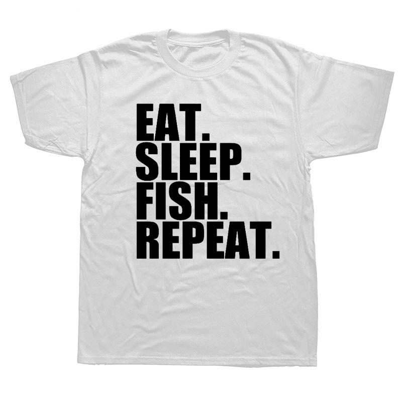 Fashion Simple Letter Eat Sleep Fish Repeat Cartoon Cool Printed Short Sleeve Cotton Mens T-shirt