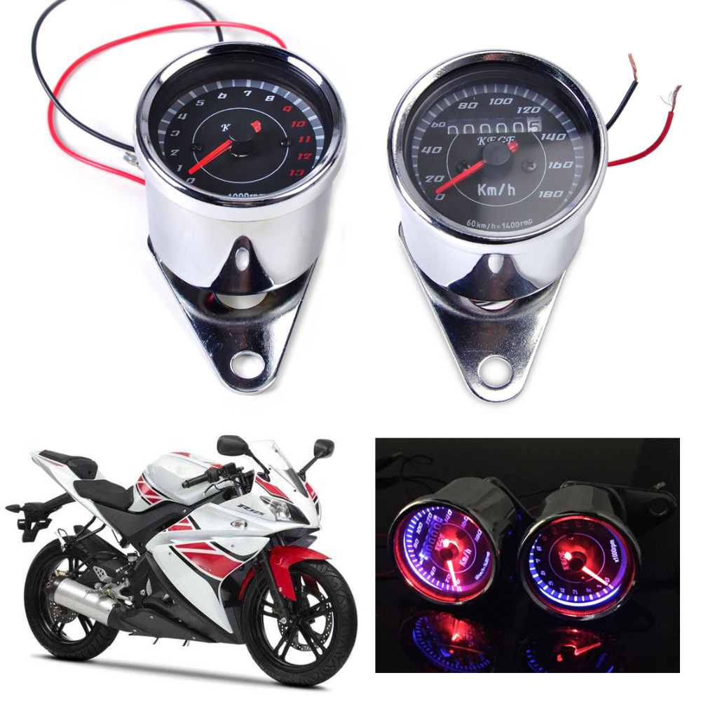 beler LED 13000 RPM Tachometer + Dual Speedometer Odometer Gauge Meter for Motorcycle For Honda Yamaha Kawasaki Suzuki Choppers motorcycle tachometer odometer instrument speedometer gauge cluster meter for kawasaki zxr250 zxr 250