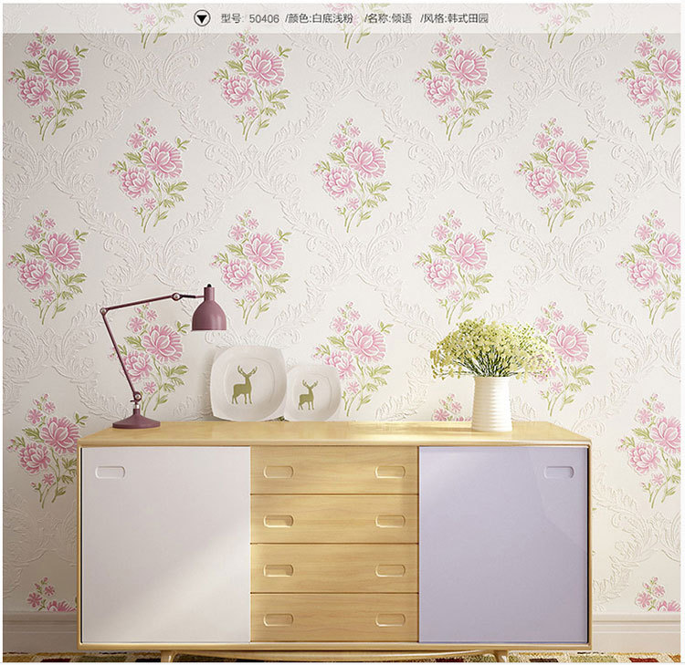 Hot Sale 3D Non-woven Wallpaper Flower Pattern Wall Paper Roll For Warm Marriage Room TV Sofa background bedroom Pink new hot sale environmental non woven wallpaper blue boy lovely cartoon background bedroom of children room wall paper stars moon