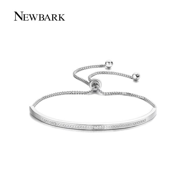 NEWBARK Top Qualità Bracelet & Bangle per Le Donne Captivate Bar Cursore Brillante CZ Rosa Color Oro Gioielli Pulseira Feminina