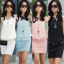 New Arrival Women Graceful Slim Tunic Causal Mini Dress Stylish Crewneck Sleeveless Sundress