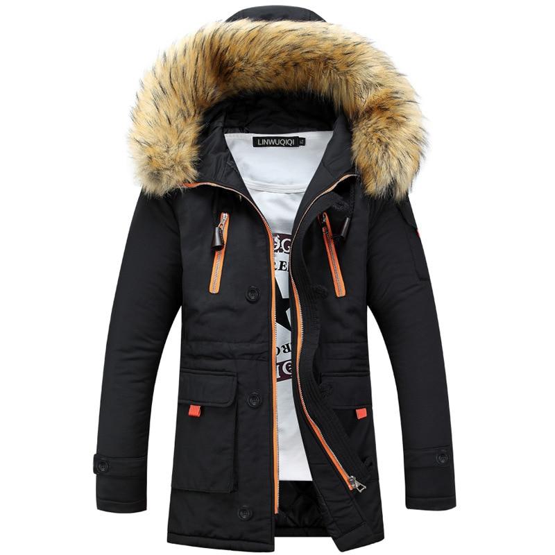 Drop shipping 2018 Fashion Mens Winter Parka Jas Casual Slim Fur Hooded Mannen Overjas Uitloper LBZ22-in Parka's van Mannenkleding op AliExpress - 11.11_Dubbel 11Vrijgezellendag 1